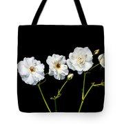 5 White Roses On Black Tote Bag