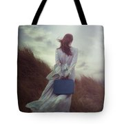 Woman With Suitcase Tote Bag