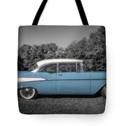 57 Chevy Black And White And Color Tote Bag