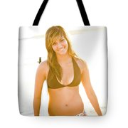A Surfer Girl Poses For Fun Portraits Tote Bag