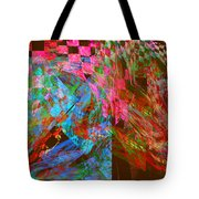 Abstract Checkered Pattern Fractal Flame Tote Bag by Keith Webber Jr