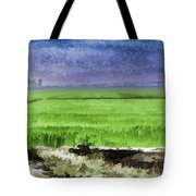 Green Fields With Birds Tote Bag