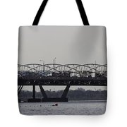 Helix Bridge And Road Bridge Next To Each Other In Singapore Tote Bag