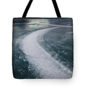 Ice Pattern On Frozen Abraham Lake Tote Bag