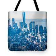 New York City Manhattan Midtown Aerial Panorama View With Skyscr Tote Bag