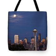 Seattle Skyline With Moonrise And Space Needle Tote Bag