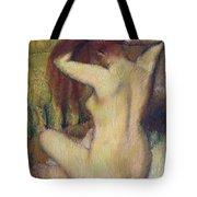 Woman Combing Her Hair Tote Bag