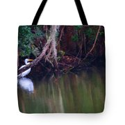 Great White Heron At Waters Edge Tote Bag