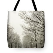 Snow Covered Road And Trees After Winter Storm Tote Bag
