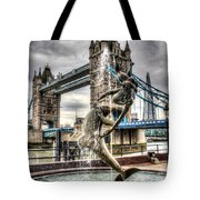 Tower Bridge And The Girl And Dolphin Statue Tote Bag