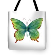 74 Green Flame Tip Butterfly Tote Bag