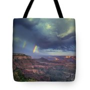 749220049 Double Rainbow Cape Royal North Rim Grand Canyon National Park Tote Bag