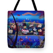 75th Anniversary Of Palm Beach, Florida Oil On Canvas Tote Bag