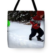 A Young Boy And Mother Sledding Tote Bag