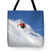 A Young Man Skis Untracked Powder Tote Bag