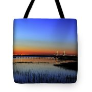 Lights Blaze In Dusking Sky Tote Bag