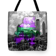 Atlanta Map And Skyline Watercolor Tote Bag
