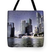 Financial District Of Singapore And View Of The Water In Singapore Tote Bag