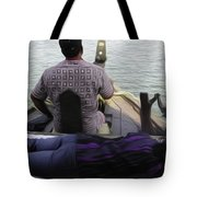 Lady Sleeping While Boatman Steers Tote Bag