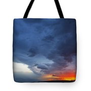 Stormclouds And Sunset Above Mountains At Toktogul In Kyrgyzstan Tote Bag