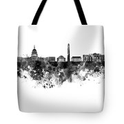 Washington Dc Skyline In Watercolor On White Background Tote Bag
