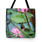 Pink Water Lily Pond Tote Bag