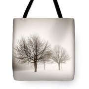 Winter Trees In Fog Tote Bag