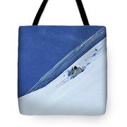 A Athletic Skier Rips Fresh Deep Powder Tote Bag
