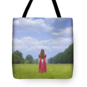 Girl On Meadow Tote Bag