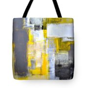 Busy Busy - Grey And Yellow Abstract Art Painting Tote Bag