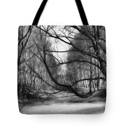 9 Black And White Artistic Painterly Icy Entrance Blocked By Braches Tote Bag