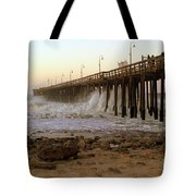 Ocean Wave Storm Pier Tote Bag