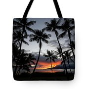 Silhouette Of Palm Trees At Dusk Tote Bag