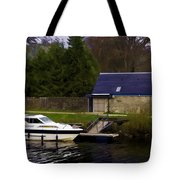 Small White Yacht In The Water Of The Caledonian Canal Tote Bag