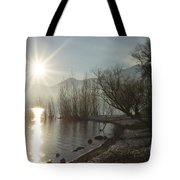 Sunshine Over An Alpine Lake Tote Bag