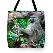 A Baboon In African Bush Tote Bag