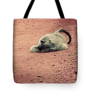 A Baboon On African Road Tote Bag