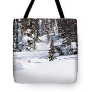 A Backcountry Skier A Turn Near Ymir Tote Bag