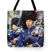 A Bagpiper Marching In The 2009 New York St. Patrick Day Parade Tote Bag