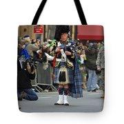 A Bagpiper Posing At The 2009 New York St. Patrick Day Parade Tote Bag