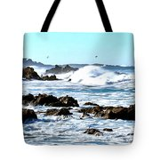 Seascape And Sea Gulls Tote Bag