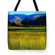 A Barn And Field In The Morning Tote Bag