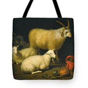 A Barn Interior With A Four-horned Ram And Four Ewes And A Goat Tote Bag