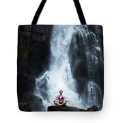 A Beautiful Young Woman Sitting Tote Bag