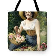 A Beauty Holding A Basket Of Roses Tote Bag