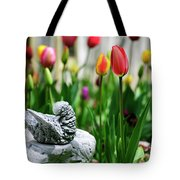 A Bird And A Tulip Tote Bag