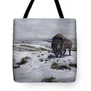 A Bison Latifrons In A Winter Landscape Tote Bag