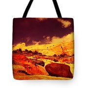 A Black Rock And Blue Sky Tote Bag