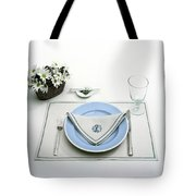 A Blue Table Setting Tote Bag