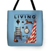 A Blue Wall With Decorations Tote Bag